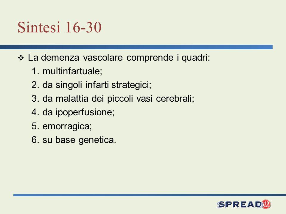 Sintesi 16-30 La demenza vascolare comprende i quadri: