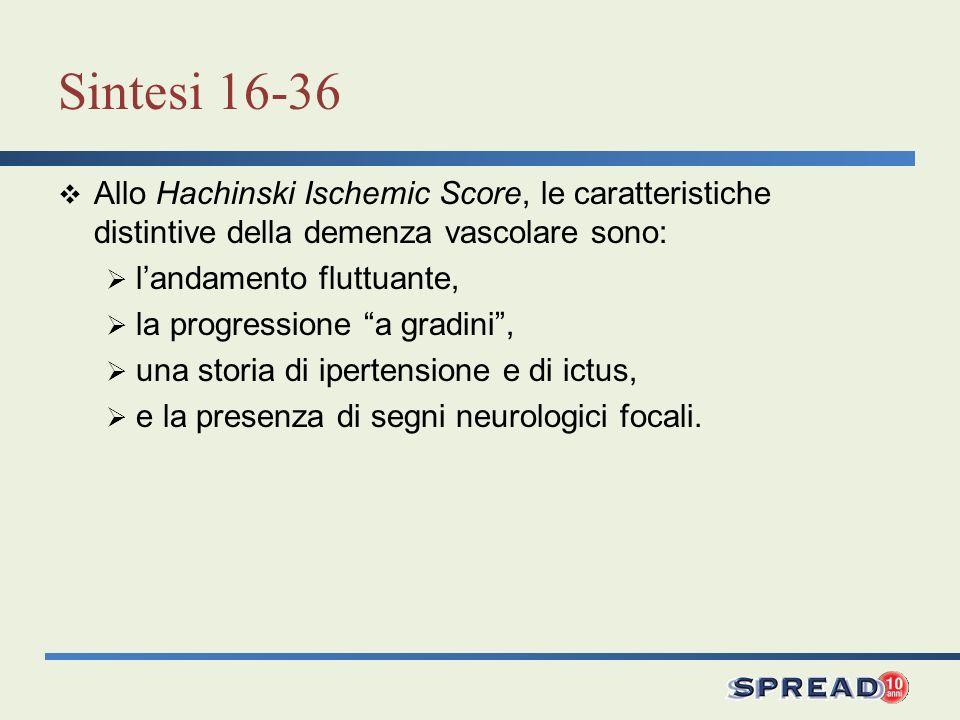 Sintesi 16-36 Allo Hachinski Ischemic Score, le caratteristiche distintive della demenza vascolare sono: