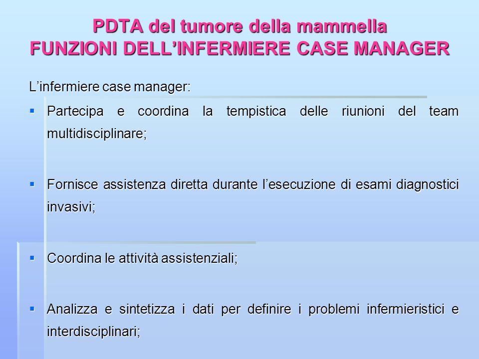 PDTA del tumore della mammella FUNZIONI DELL'INFERMIERE CASE MANAGER