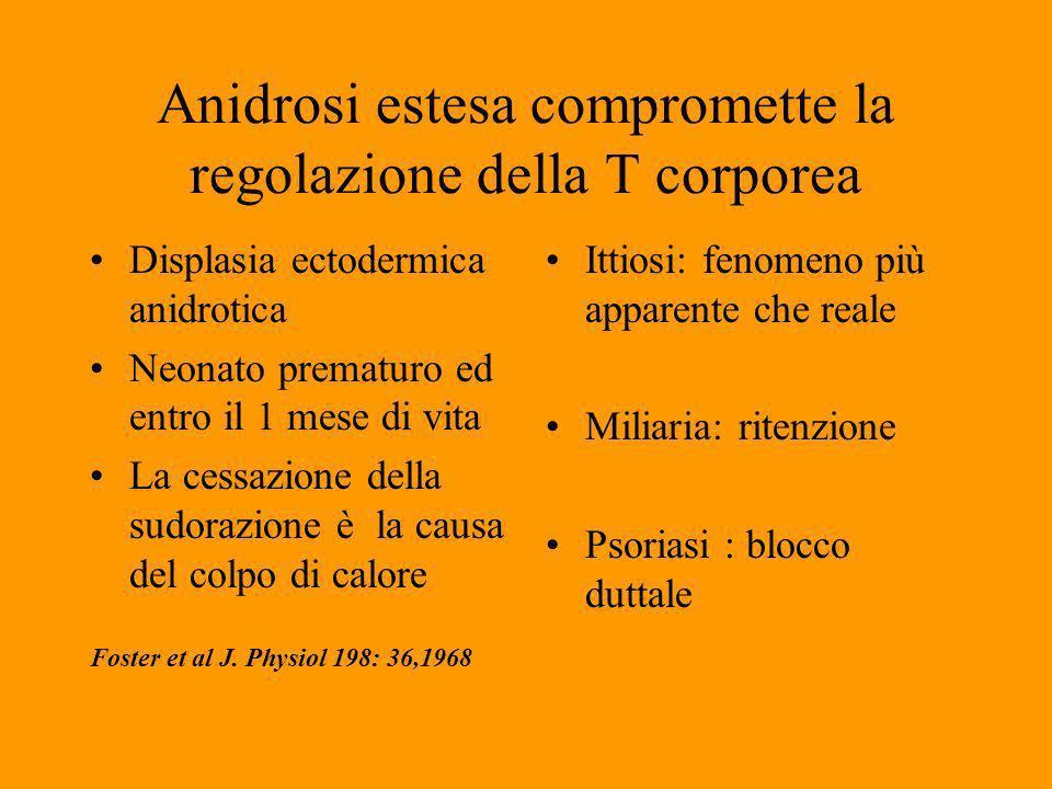 Anidrosi estesa compromette la regolazione della T corporea
