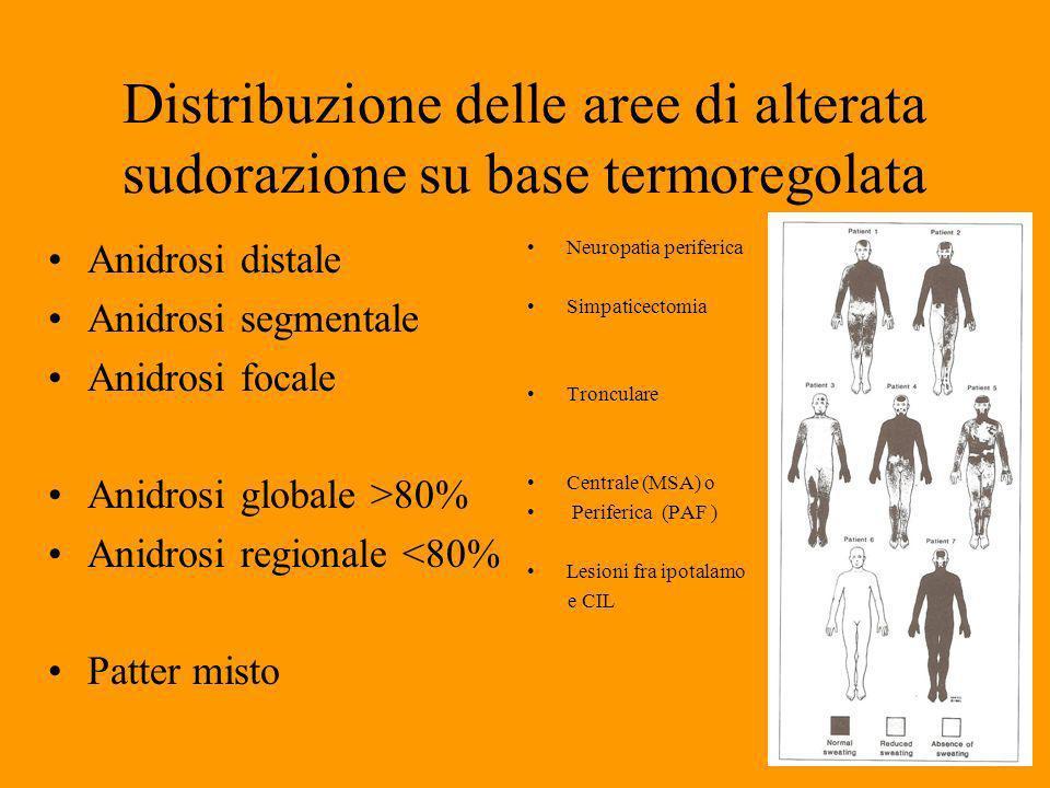Distribuzione delle aree di alterata sudorazione su base termoregolata