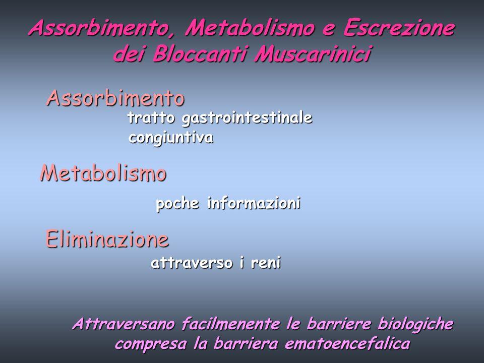 Assorbimento, Metabolismo e Escrezione dei Bloccanti Muscarinici