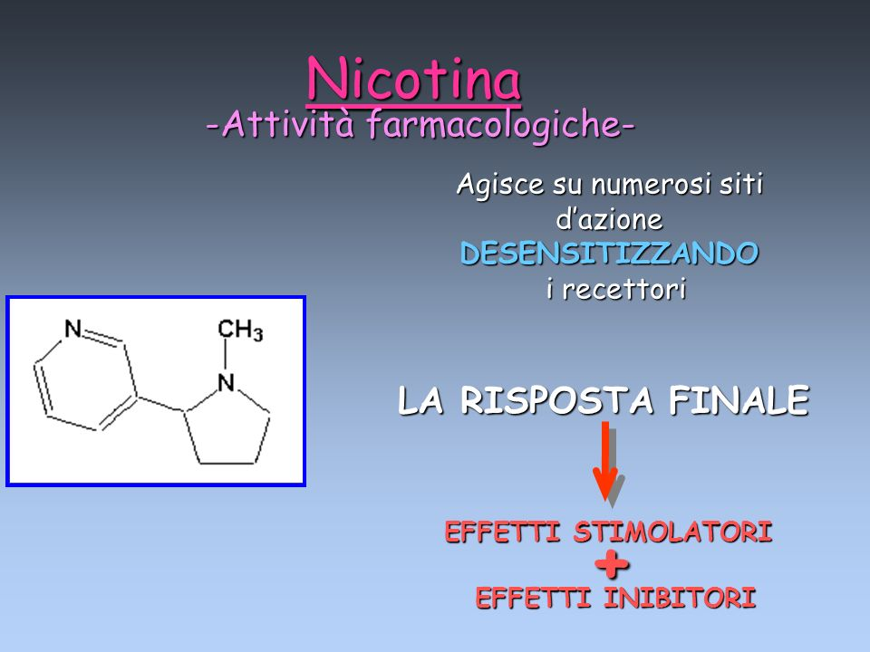+ Nicotina -Attività farmacologiche- LA RISPOSTA FINALE