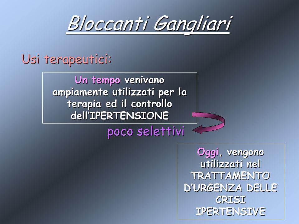 Bloccanti Gangliari Usi terapeutici: poco selettivi