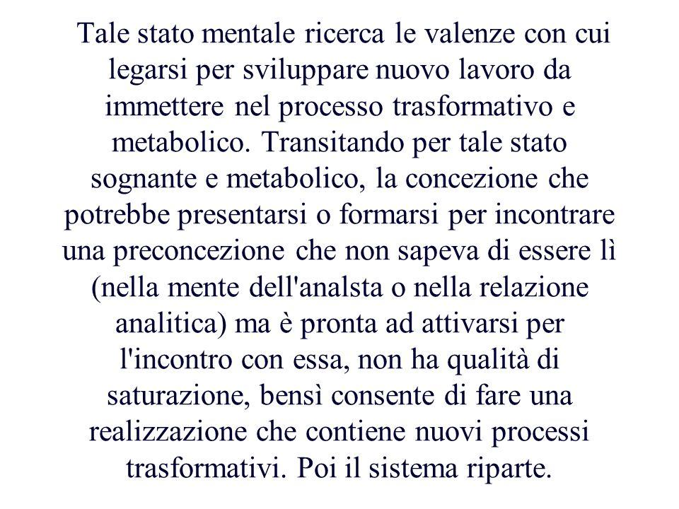 Tale stato mentale ricerca le valenze con cui legarsi per sviluppare nuovo lavoro da immettere nel processo trasformativo e metabolico.