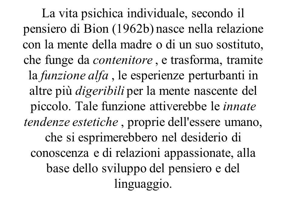 La vita psichica individuale, secondo il pensiero di Bion (1962b) nasce nella relazione con la mente della madre o di un suo sostituto, che funge da contenitore , e trasforma, tramite la funzione alfa , le esperienze perturbanti in altre più digeribili per la mente nascente del piccolo.