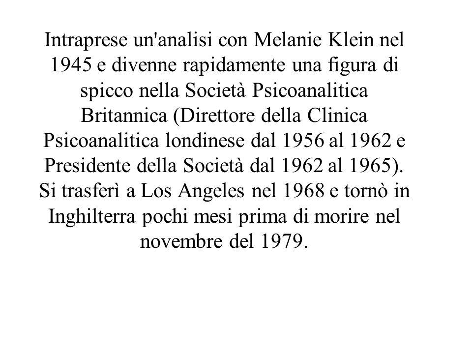 Intraprese un analisi con Melanie Klein nel 1945 e divenne rapidamente una figura di spicco nella Società Psicoanalitica Britannica (Direttore della Clinica Psicoanalitica londinese dal 1956 al 1962 e Presidente della Società dal 1962 al 1965).