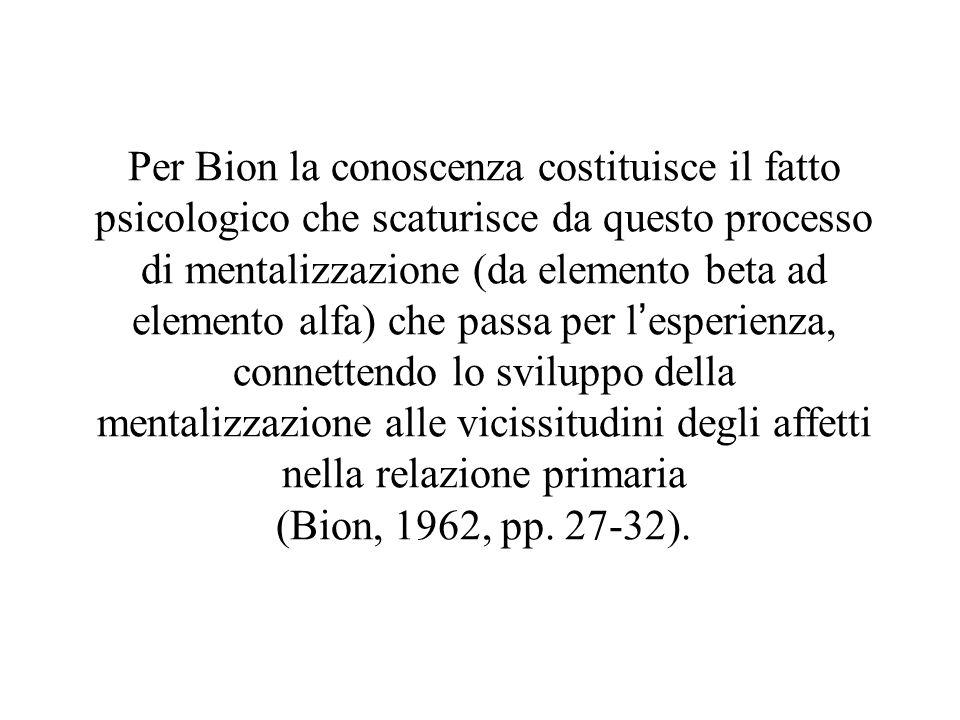 Per Bion la conoscenza costituisce il fatto psicologico che scaturisce da questo processo di mentalizzazione (da elemento beta ad elemento alfa) che passa per l'esperienza, connettendo lo sviluppo della mentalizzazione alle vicissitudini degli affetti nella relazione primaria (Bion, 1962, pp.