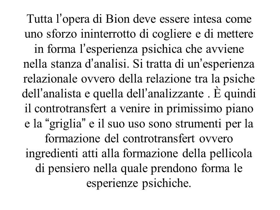 Tutta l'opera di Bion deve essere intesa come uno sforzo ininterrotto di cogliere e di mettere in forma l'esperienza psichica che avviene nella stanza d'analisi.