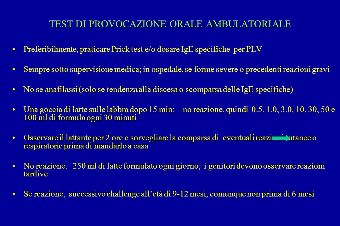 TEST DI PROVOCAZIONE ORALE AMBULATORIALE
