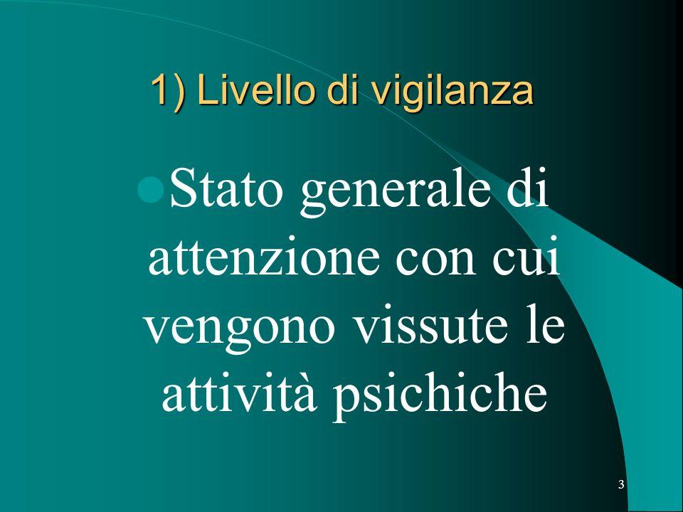 1) Livello di vigilanza Stato generale di attenzione con cui vengono vissute le attività psichiche