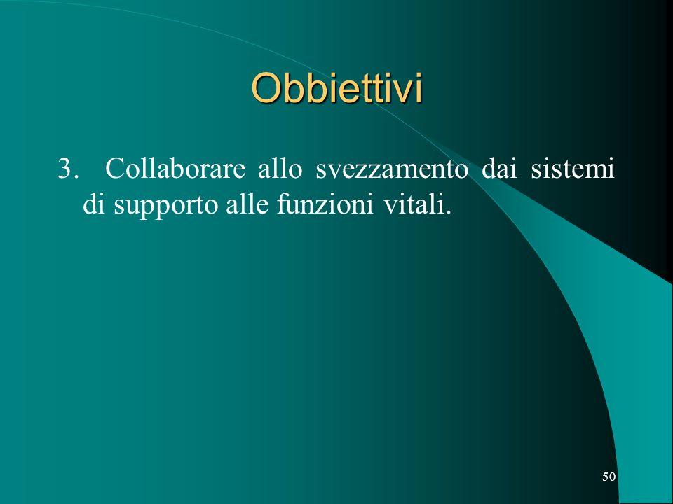 Obbiettivi 3. Collaborare allo svezzamento dai sistemi di supporto alle funzioni vitali.