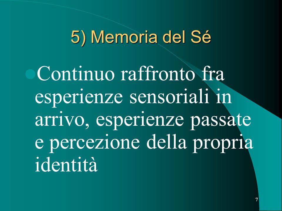 5) Memoria del Sé Continuo raffronto fra esperienze sensoriali in arrivo, esperienze passate e percezione della propria identità.