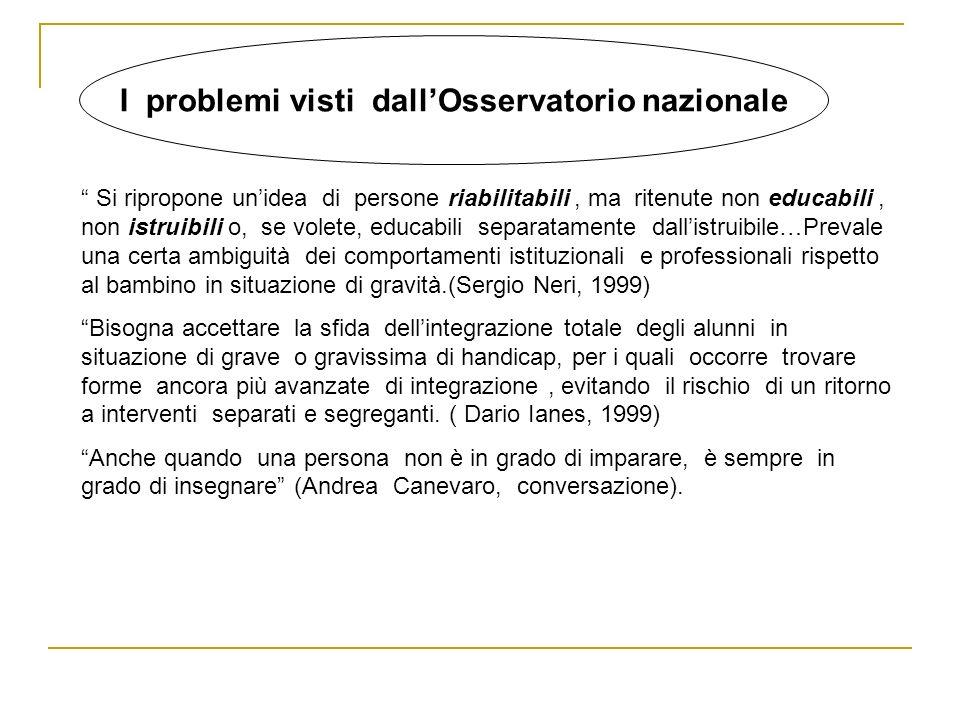 I problemi visti dall'Osservatorio nazionale
