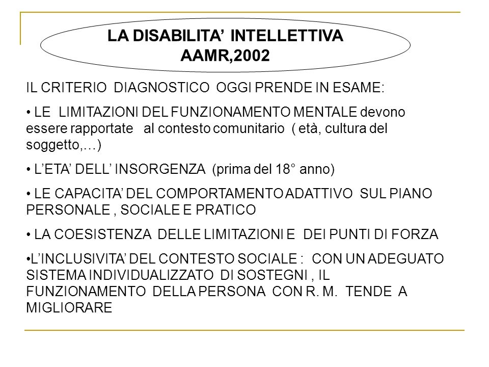LA DISABILITA' INTELLETTIVA