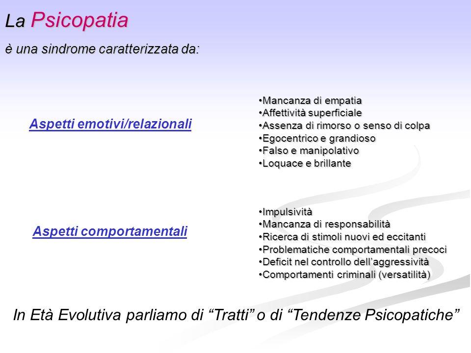 In Età Evolutiva parliamo di Tratti o di Tendenze Psicopatiche