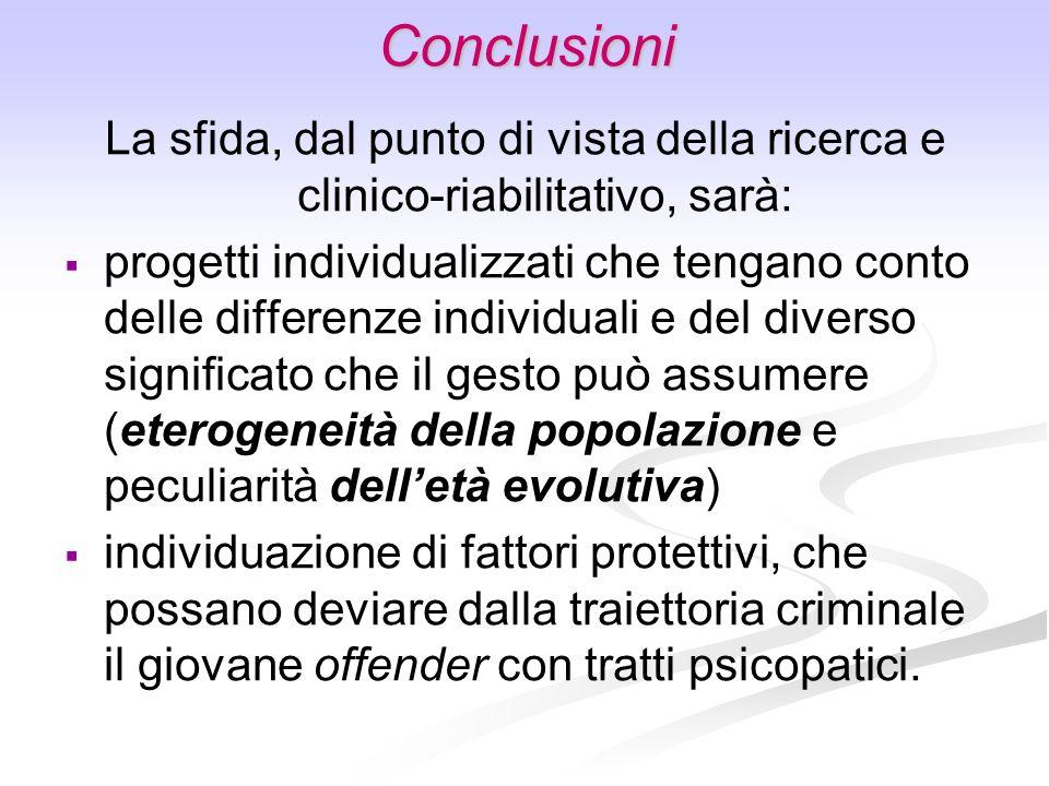 Conclusioni La sfida, dal punto di vista della ricerca e clinico-riabilitativo, sarà: