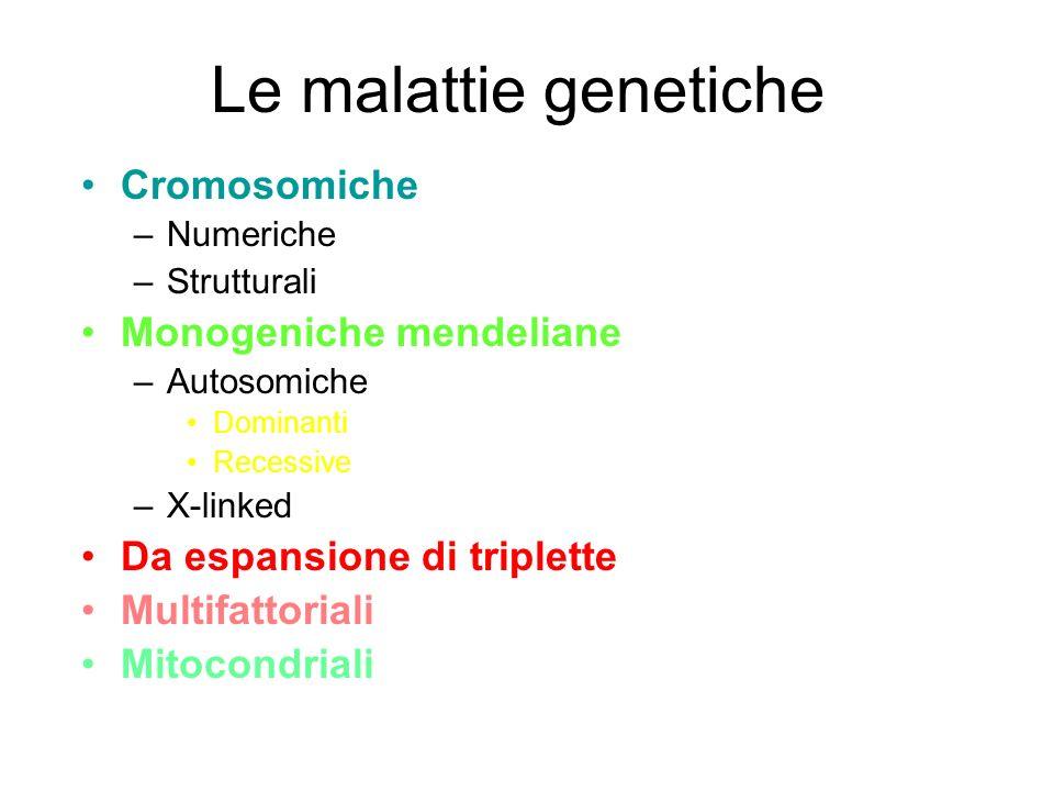 Le malattie genetiche Cromosomiche Monogeniche mendeliane