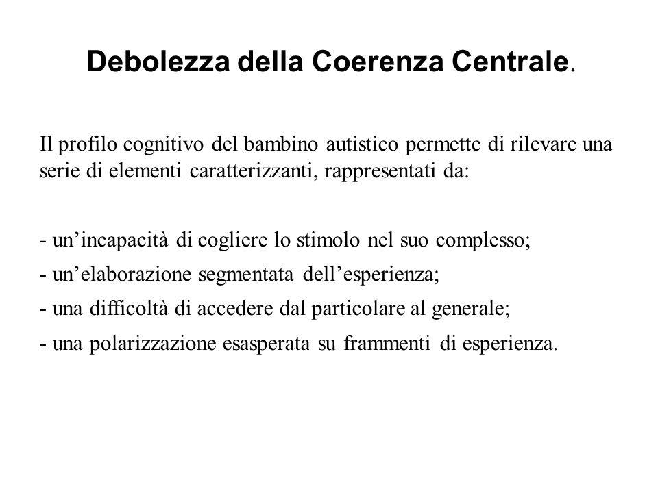 Debolezza della Coerenza Centrale.
