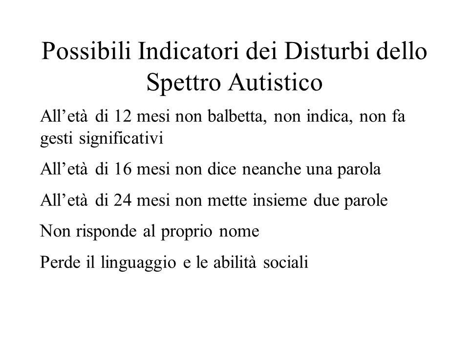 Possibili Indicatori dei Disturbi dello Spettro Autistico