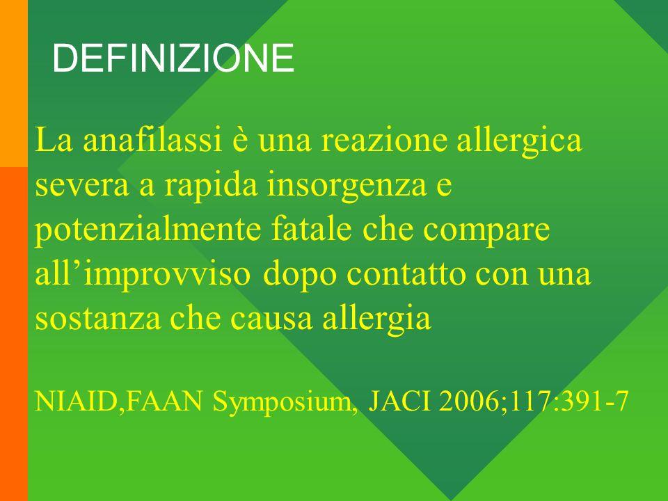 DEFINIZIONE La anafilassi è una reazione allergica severa a rapida insorgenza e potenzialmente fatale che compare.