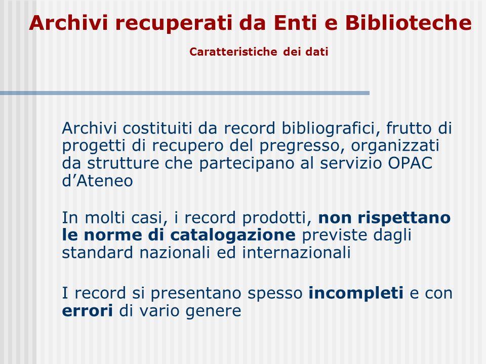 Archivi recuperati da Enti e Biblioteche
