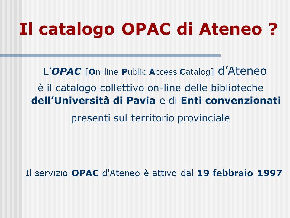Il catalogo OPAC di Ateneo