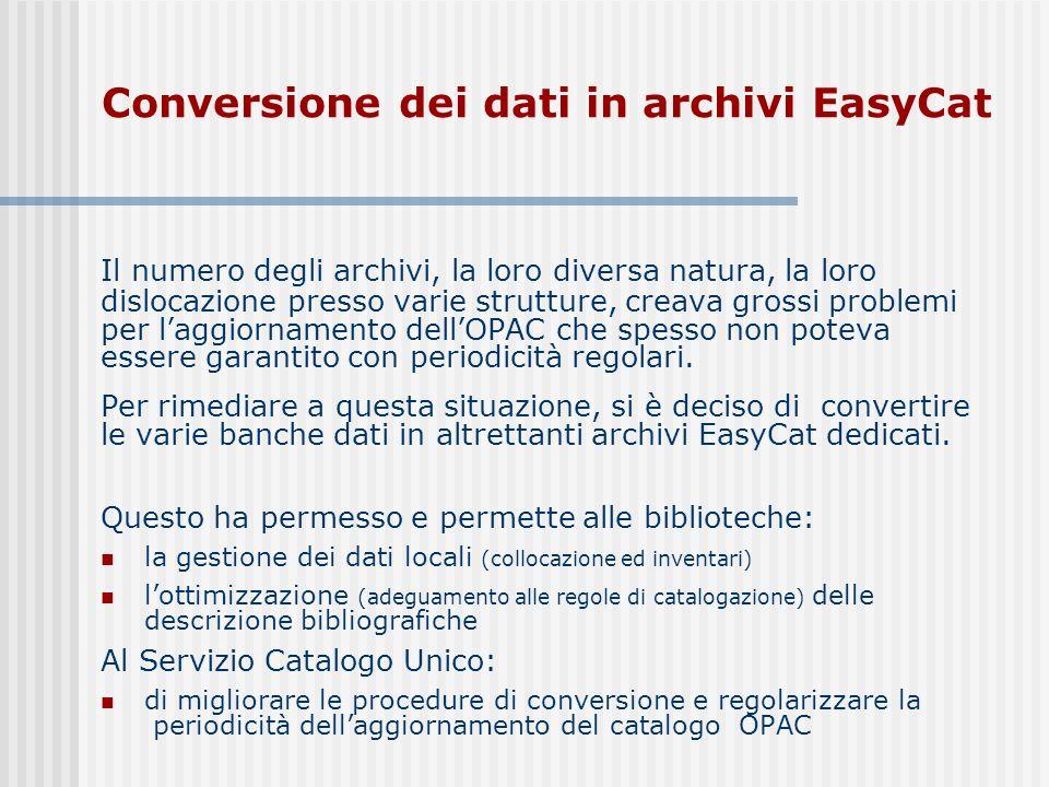 Conversione dei dati in archivi EasyCat