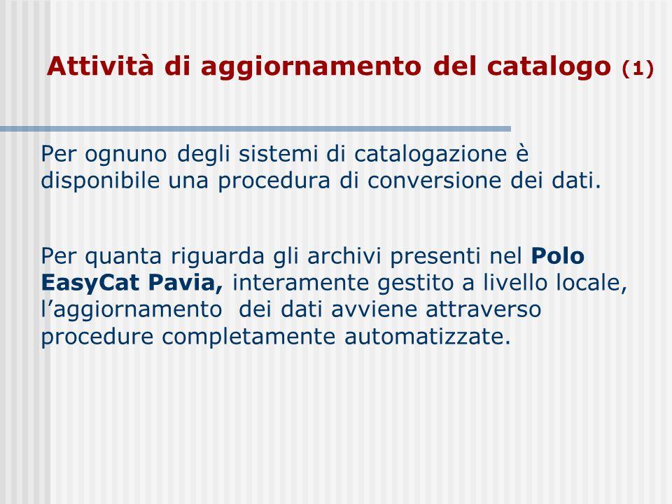 Attività di aggiornamento del catalogo (1)