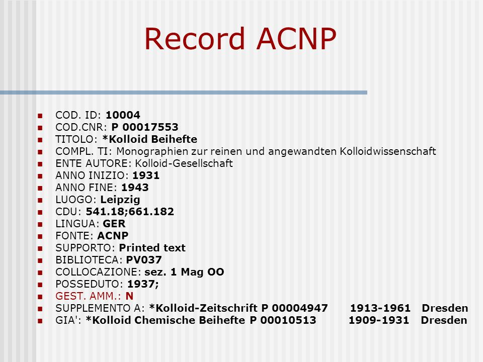 Record ACNP COD. ID: 10004 COD.CNR: P 00017553