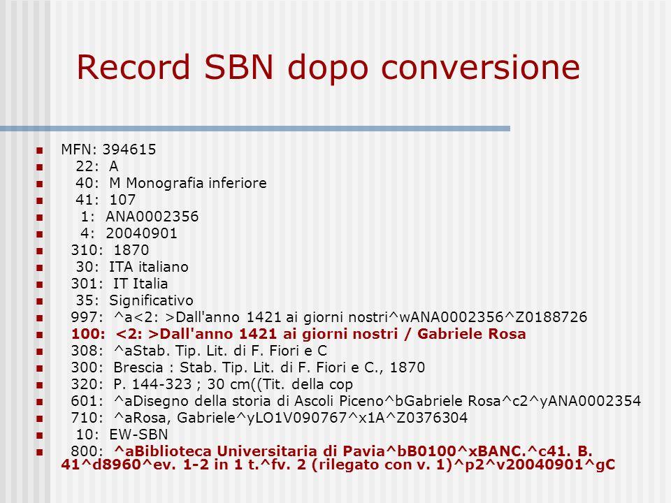 Record SBN dopo conversione