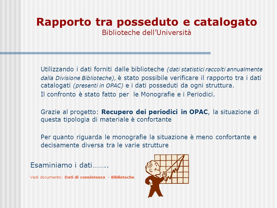 Rapporto tra posseduto e catalogato Biblioteche dell'Università