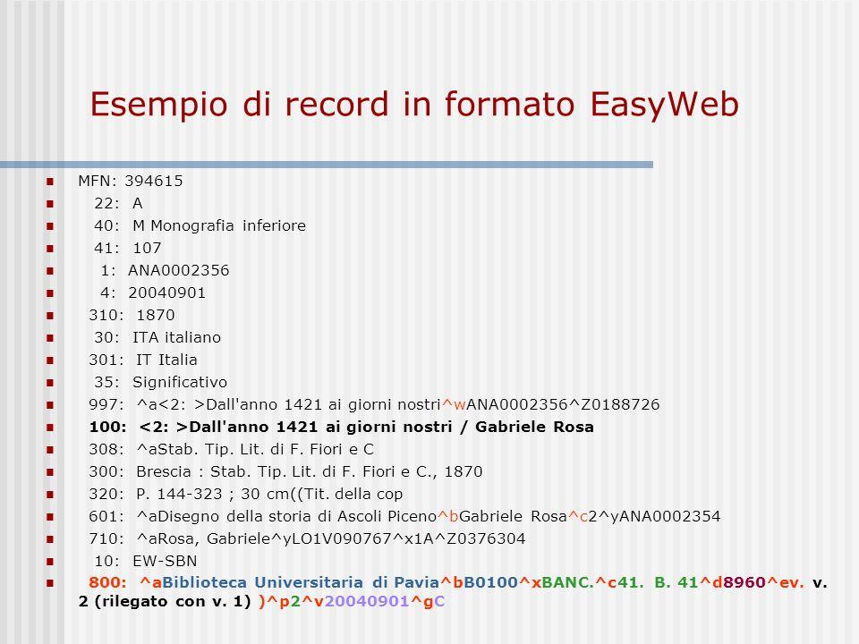 Esempio di record in formato EasyWeb
