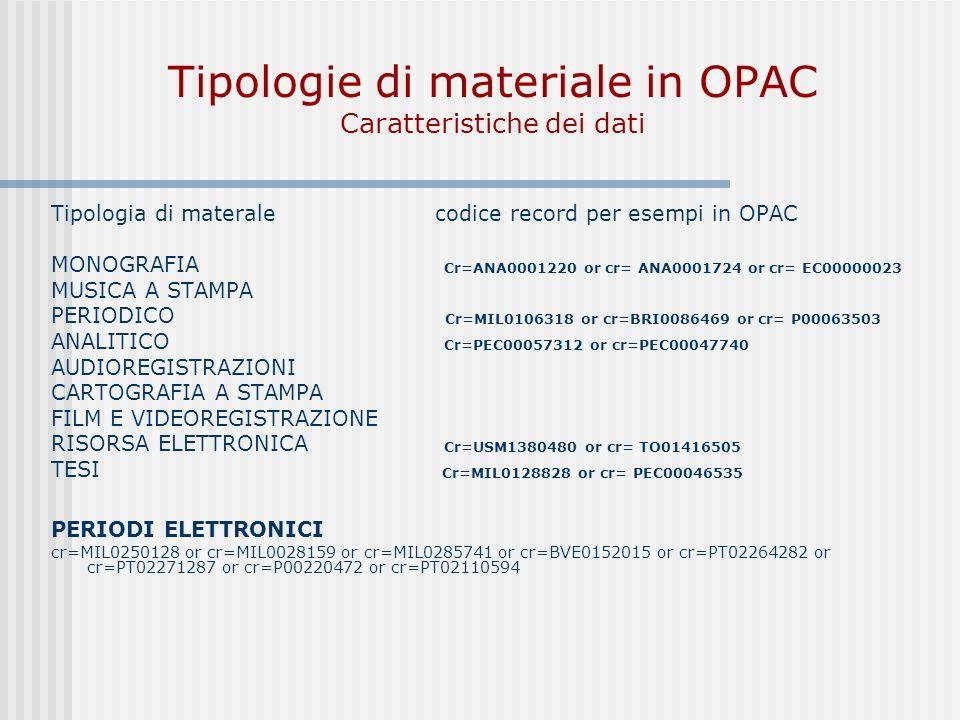 Tipologie di materiale in OPAC Caratteristiche dei dati