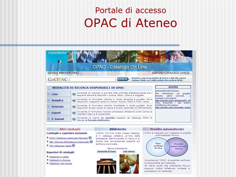 Portale di accesso OPAC di Ateneo