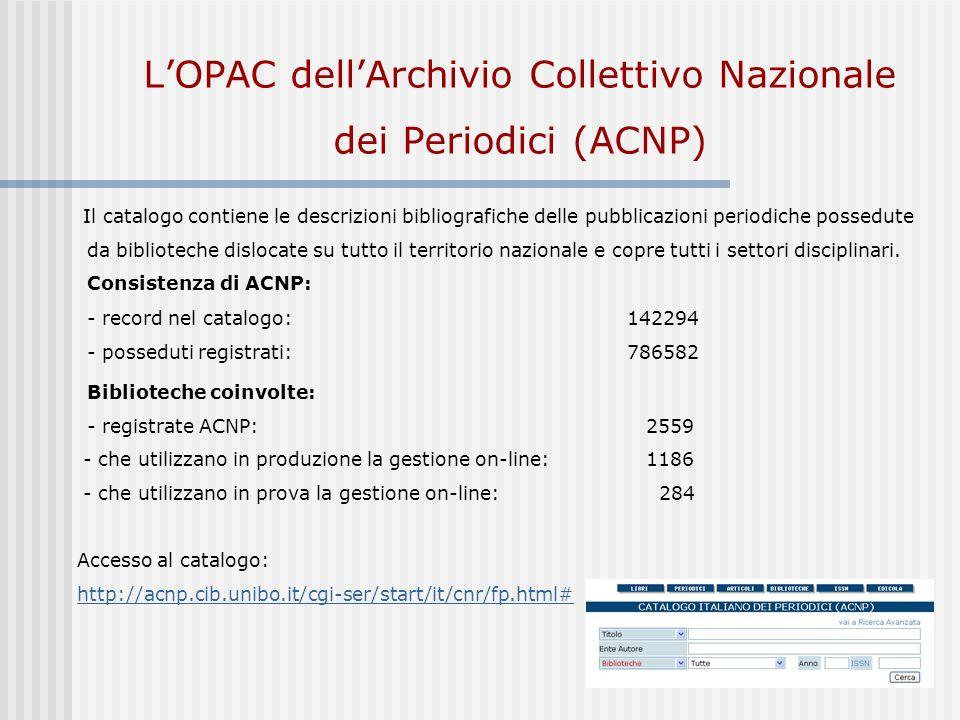 L'OPAC dell'Archivio Collettivo Nazionale dei Periodici (ACNP)