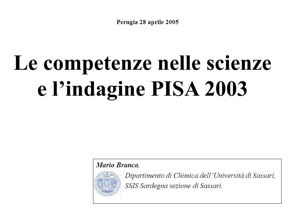 Le competenze nelle scienze e l'indagine PISA 2003