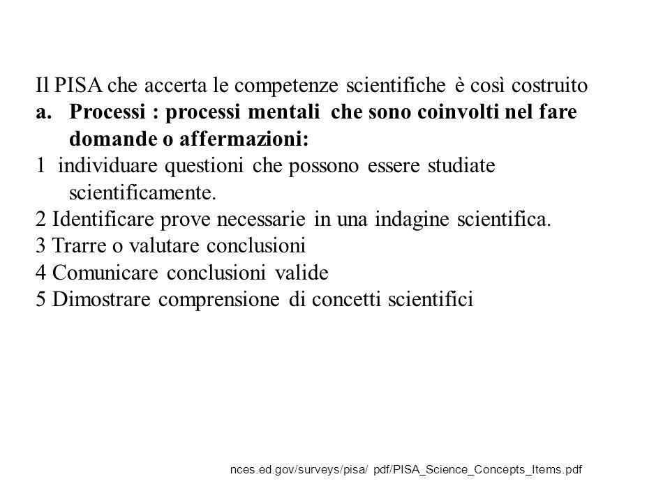 Il PISA che accerta le competenze scientifiche è così costruito
