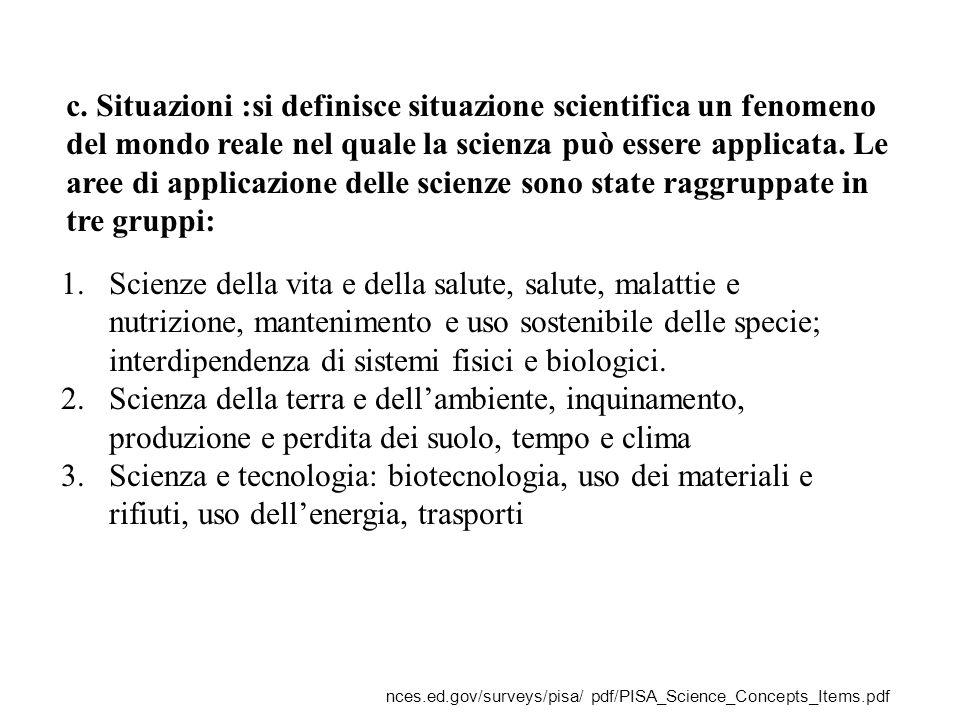 c. Situazioni :si definisce situazione scientifica un fenomeno del mondo reale nel quale la scienza può essere applicata. Le aree di applicazione delle scienze sono state raggruppate in tre gruppi: