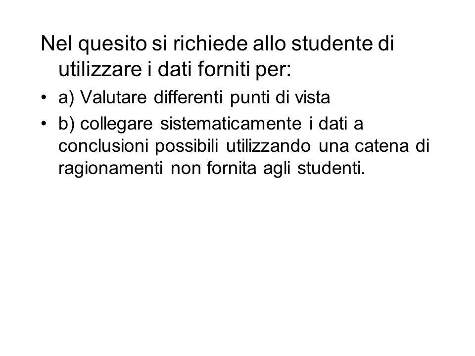 Nel quesito si richiede allo studente di utilizzare i dati forniti per:
