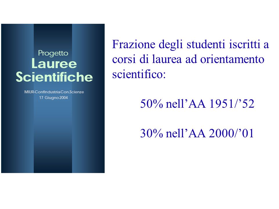 Frazione degli studenti iscritti a corsi di laurea ad orientamento scientifico: