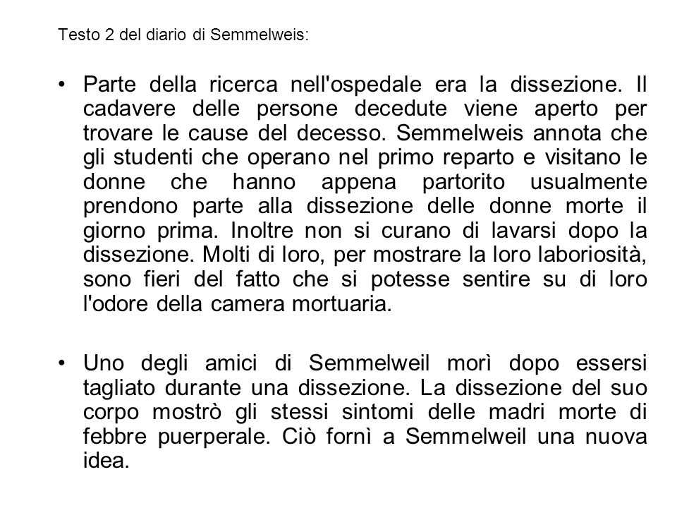 Testo 2 del diario di Semmelweis: