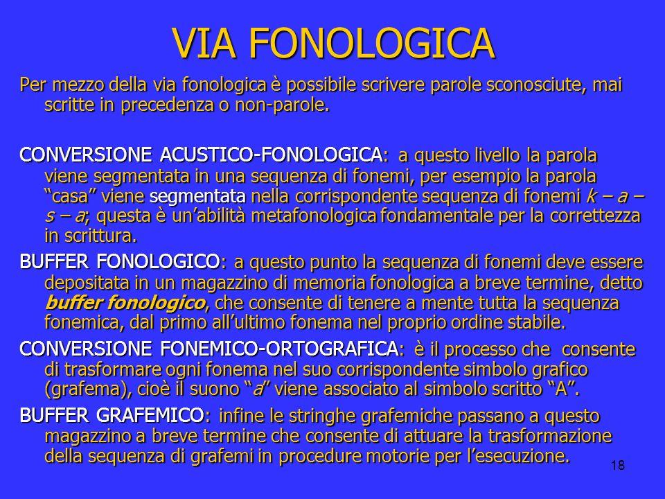 VIA FONOLOGICA Per mezzo della via fonologica è possibile scrivere parole sconosciute, mai scritte in precedenza o non-parole.