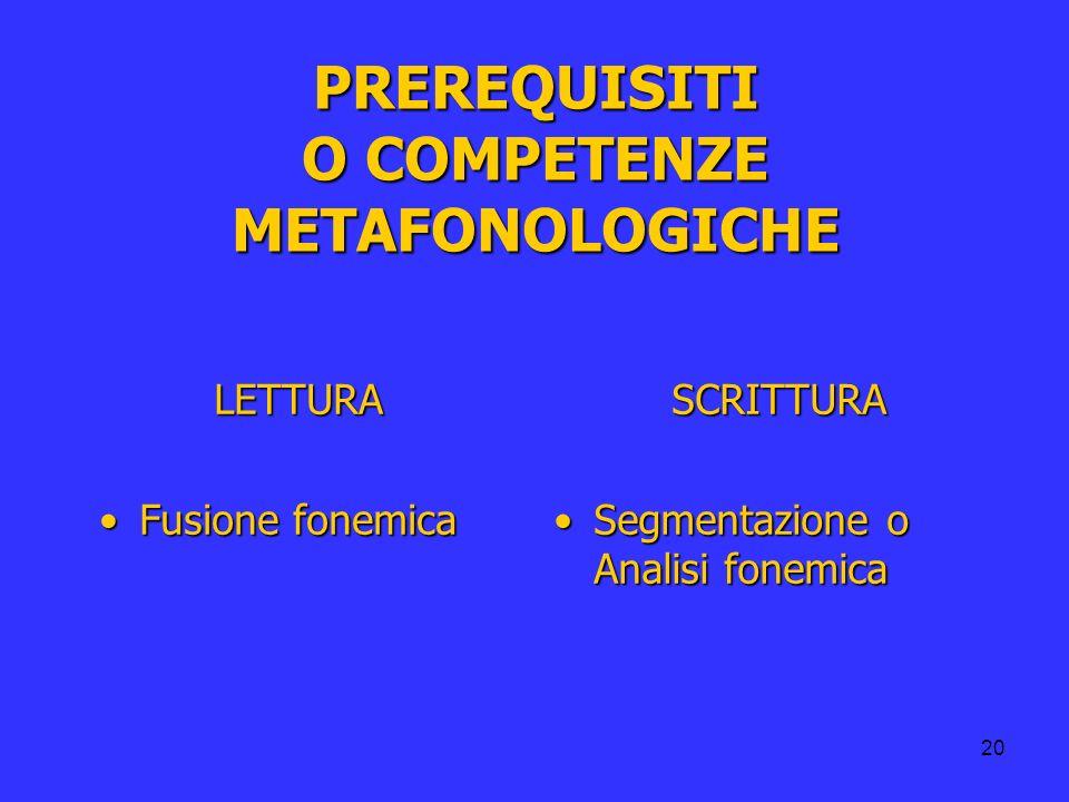 PREREQUISITI O COMPETENZE METAFONOLOGICHE