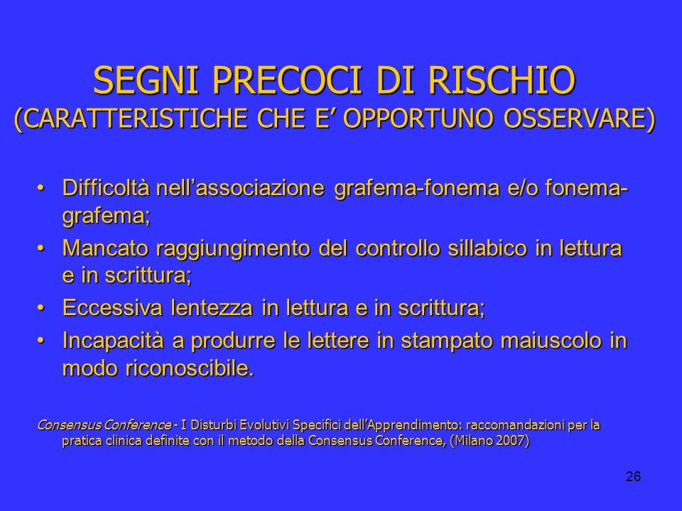 SEGNI PRECOCI DI RISCHIO (CARATTERISTICHE CHE E' OPPORTUNO OSSERVARE)
