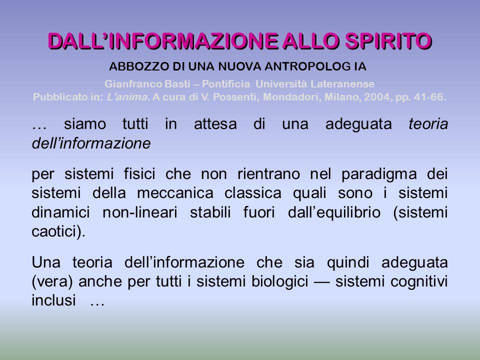 DALL'INFORMAZIONE ALLO SPIRITO