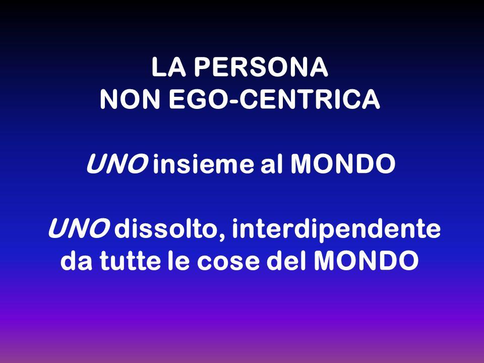 LA PERSONA NON EGO-CENTRICA UNO insieme al MONDO UNO dissolto, interdipendente da tutte le cose del MONDO