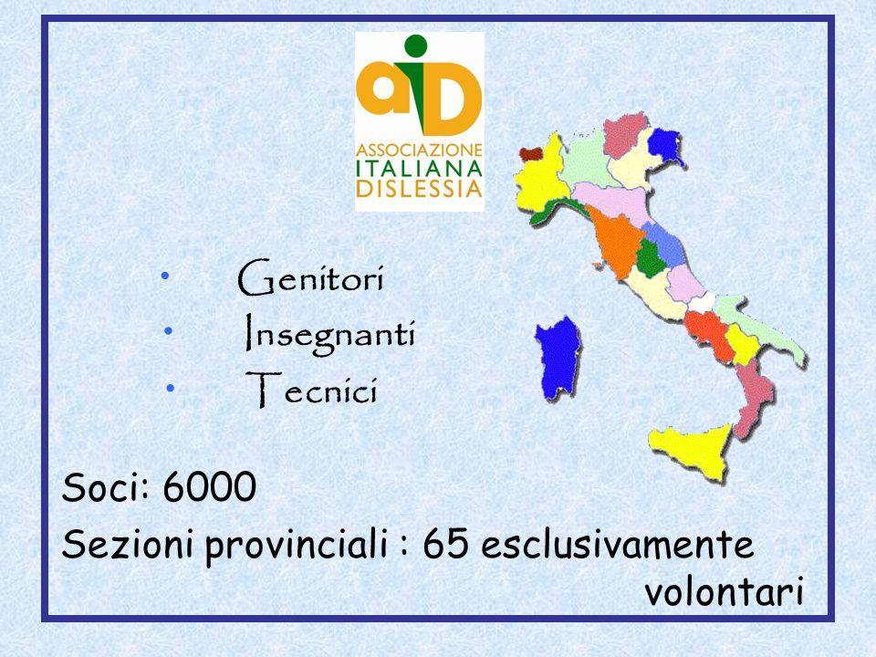 Sezioni provinciali : 65 esclusivamente volontari