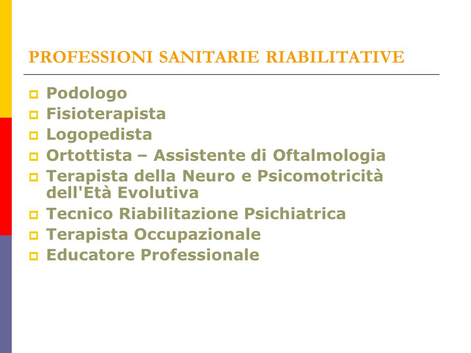 PROFESSIONI SANITARIE RIABILITATIVE