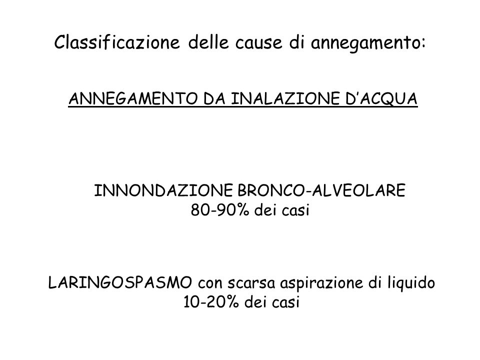 Classificazione delle cause di annegamento: